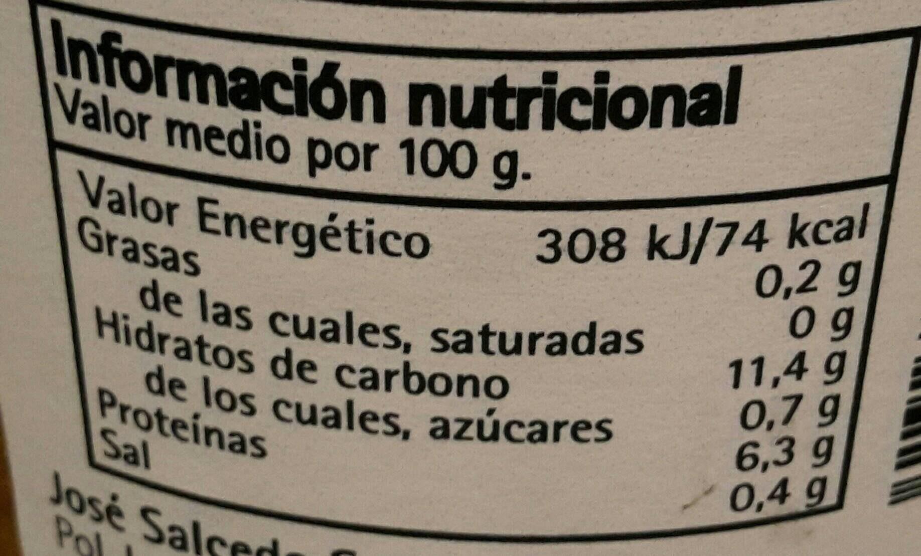 Lentejas al natural extra - Voedingswaarden - fr