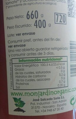 Tomate al natural pelado de cultivo ecológico - Nutrition facts