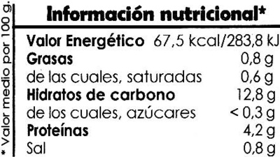 Alubias con verduras - Información nutricional