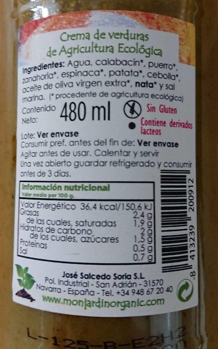 Crema de verduras de cultivo ecológico - Información nutricional - es