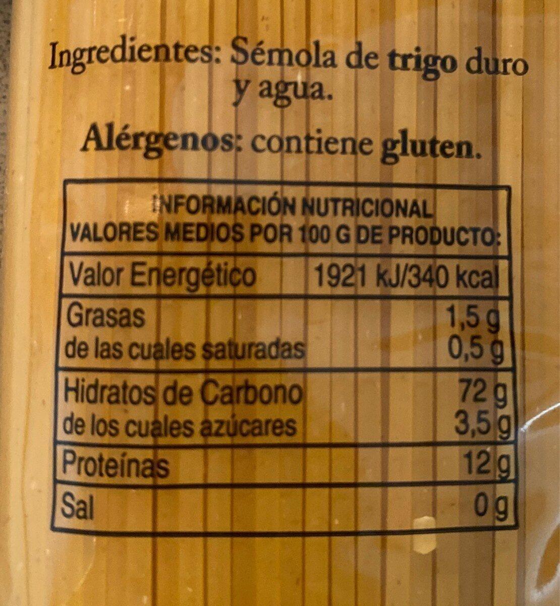 Espagueti - Informations nutritionnelles - es