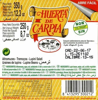 Altramuces encurtidos - Ingredientes