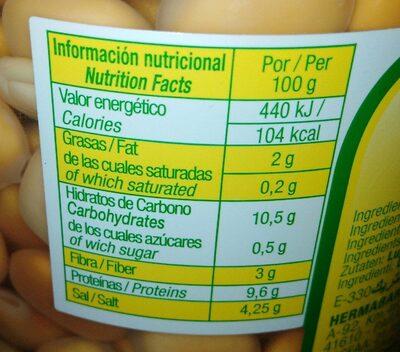 Altramuces - Informations nutritionnelles - es