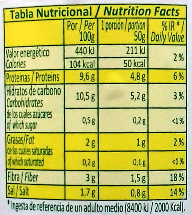 Altramuces frasco 380 g - Información nutricional - es
