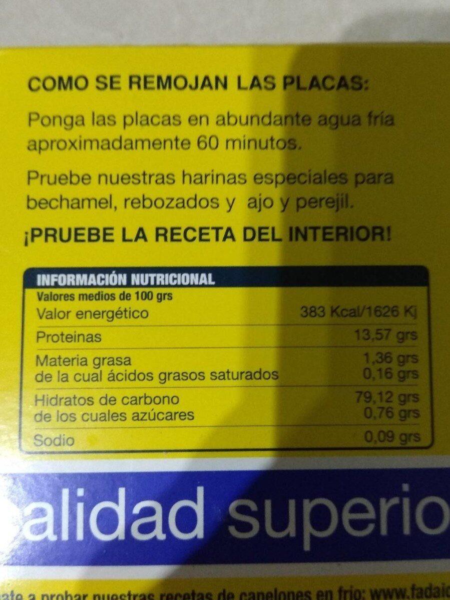 Canelones placas - Nutrition facts