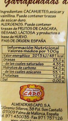 Cacahuetes acaramelados - Voedingswaarden - es