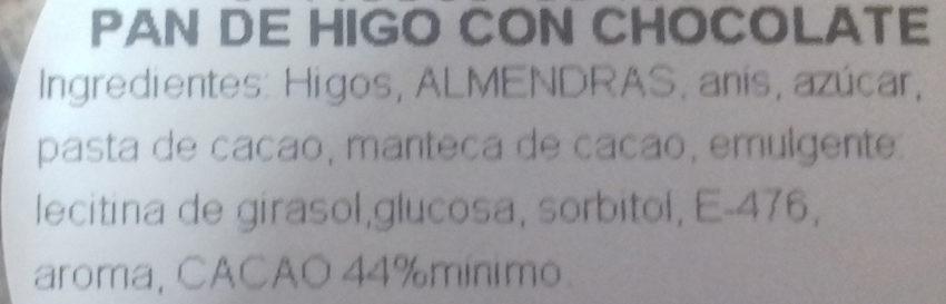 Pan de higo con chocolate - Ingredients