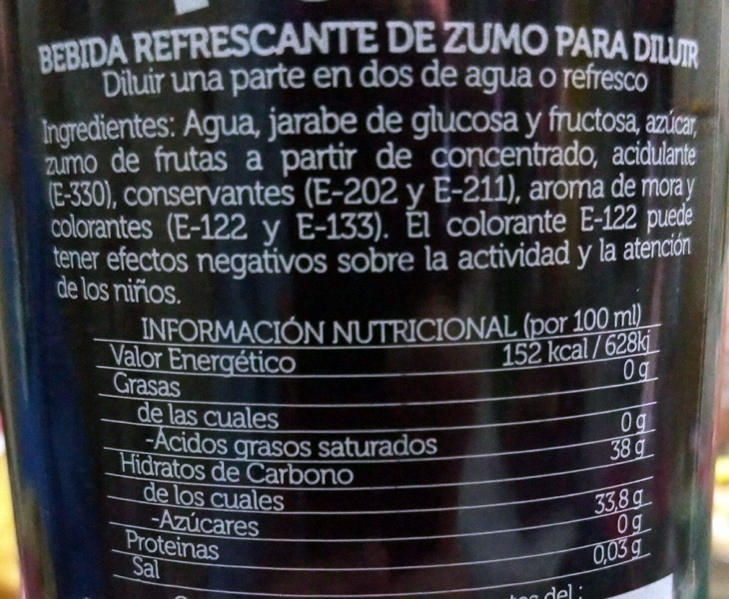 Licor de mora - Ingredientes - es