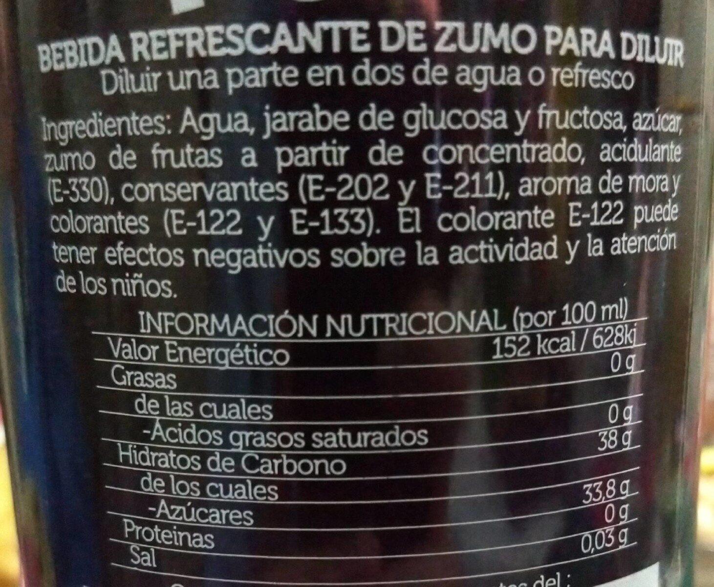 Licor de mora - Información nutricional - es