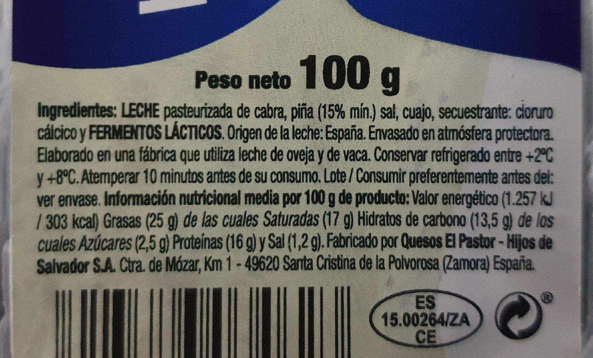 Rulo de queso de cabra con piña - Nutrition facts