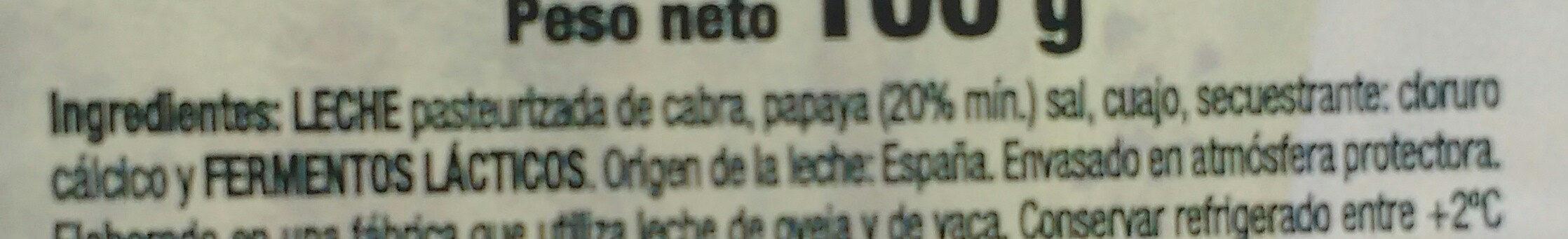 Rulo de queso de cabra con papaya - Ingredients - es