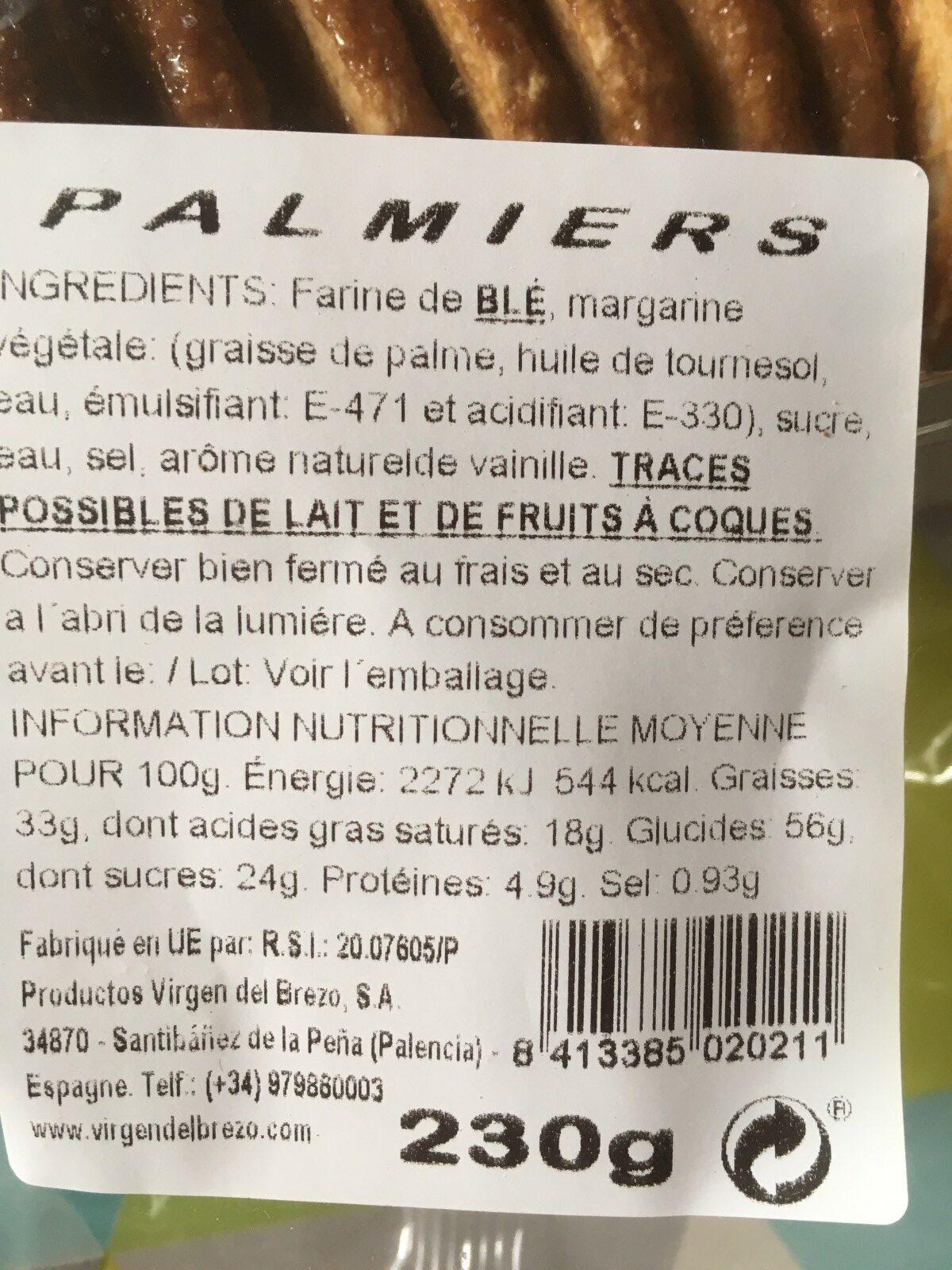Palmiers - Ingrédients