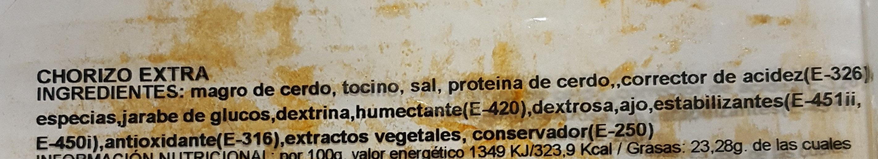 Chorizo Extra - Ingredientes - es