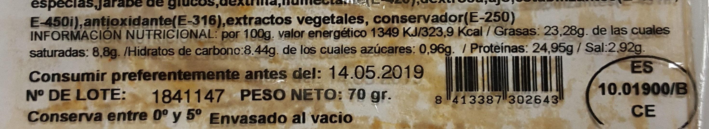 Chorizo Extra - Información nutricional - es