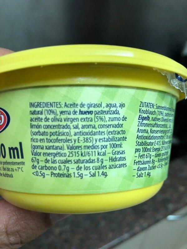 Allioli - Ingredients - es