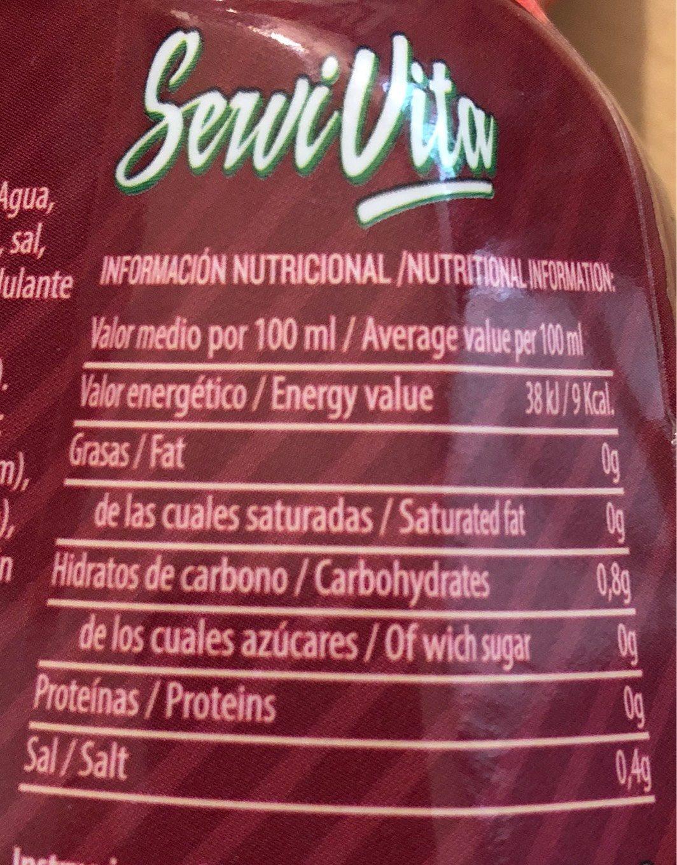 Servivita Sauce Fraise 320ML - Informations nutritionnelles - fr