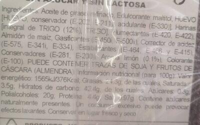 Bizcocho integral - Ingrédients