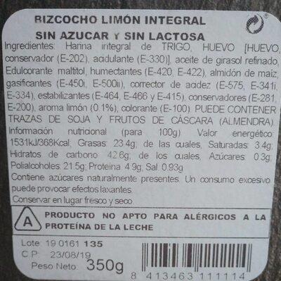 Bizcocho integral - Informations nutritionnelles - es