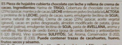 Hojaldrada rellena y bañada de chocolate - Información nutricional