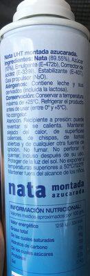 Nata Uht Montada Azucarada - Ingredientes - es