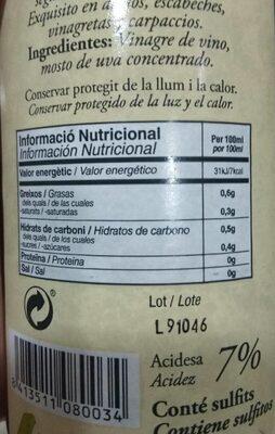 Germanor vinagre de vino de garnacha - Informació nutricional - es