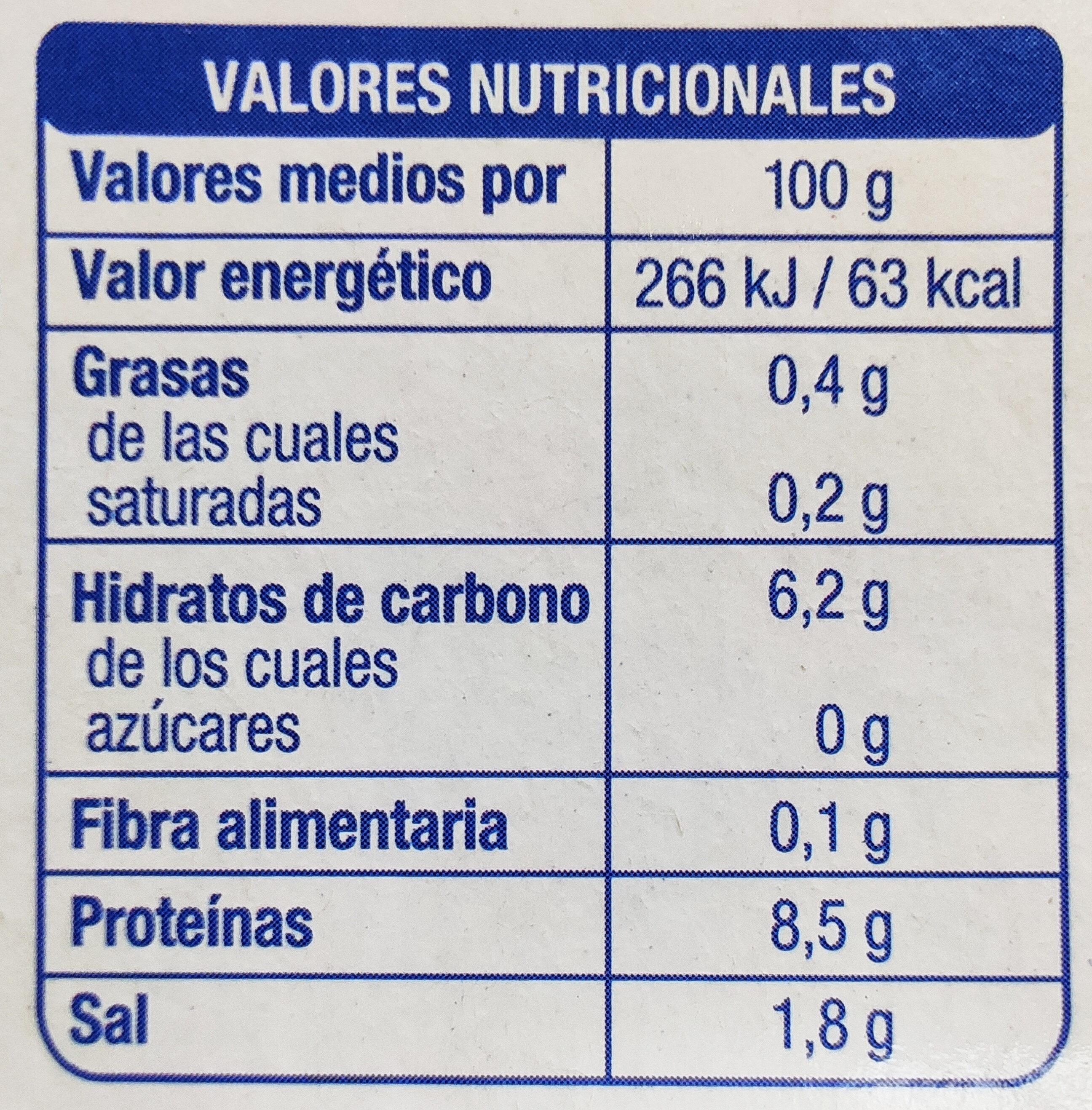 Berberechos - Información nutricional - es