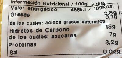 Maiz dulce cocido - Información nutricional - es