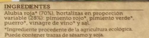Vinagreta de alubia roja con hortalizas de cultivo - Ingrédients