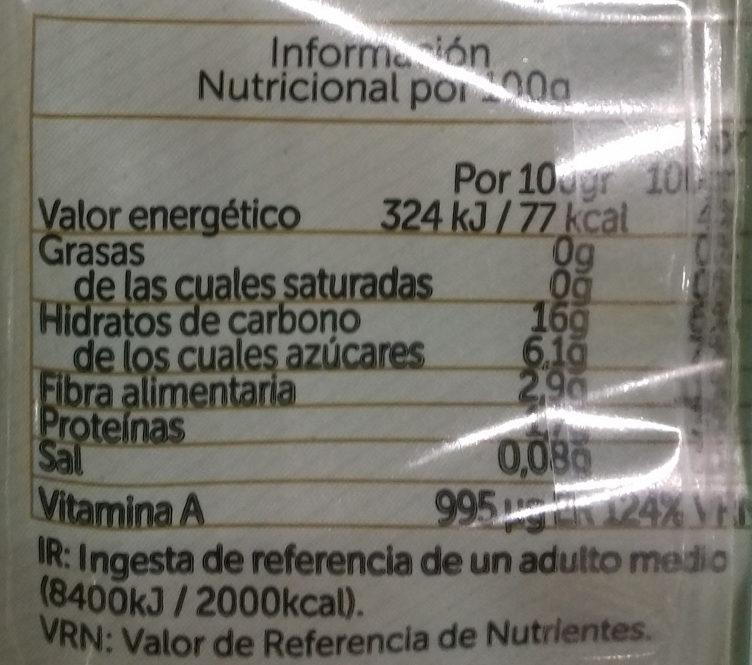 Boniato cocido en dados - Informació nutricional - es
