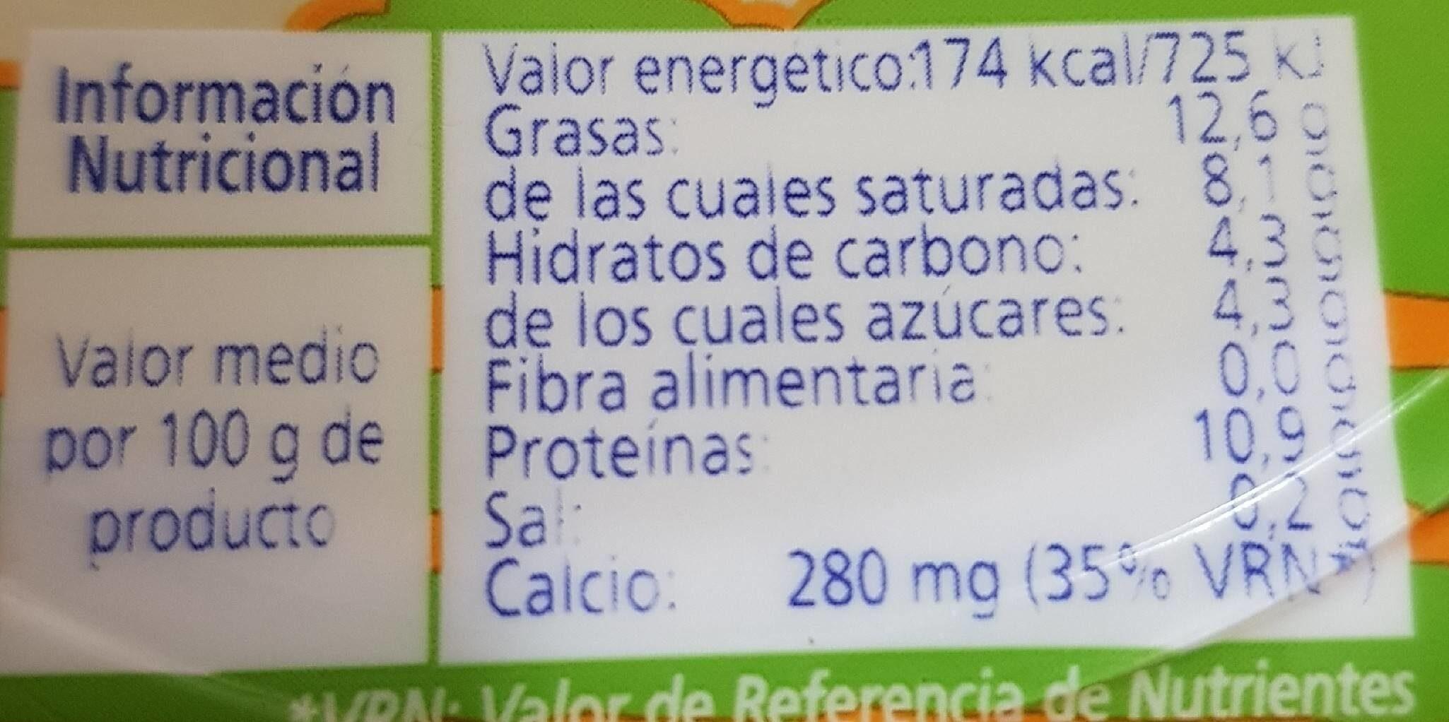 Queso fresco - Informació nutricional - es