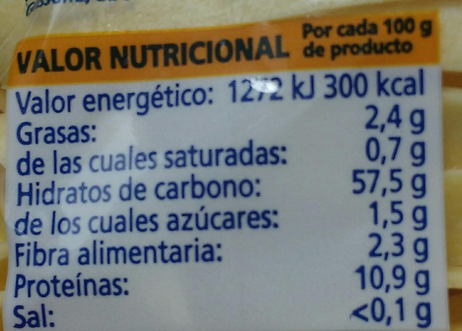 Tagliatelle al huevo - Informations nutritionnelles - es