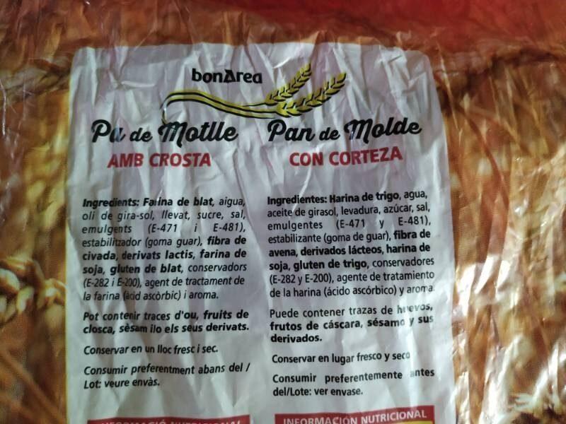 Pan molde - Ingredients - es