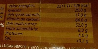 Chocolate fondant 48% - Informació nutricional - ca