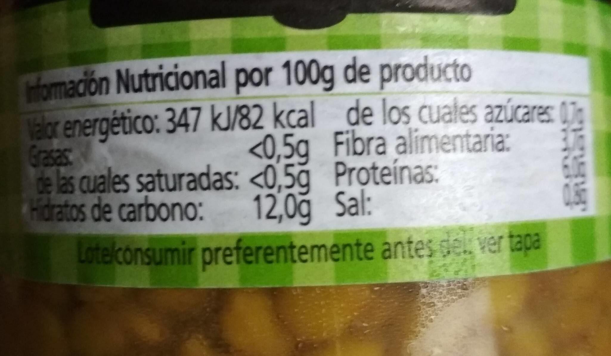 Lentejas cocidas extras - Información nutricional