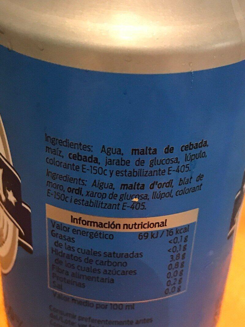 Cerveza sin - Ingrediënten - es