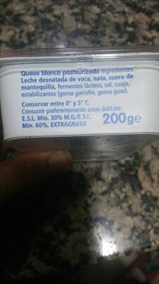queso fresco untar - Ingredients