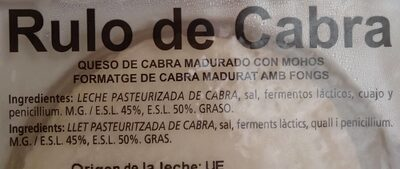Rulo de cabra - Ingredients