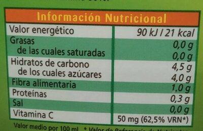 Nectar pressec - Información nutricional