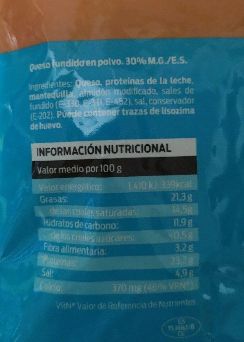 Queso fundido rallado - Informació nutricional