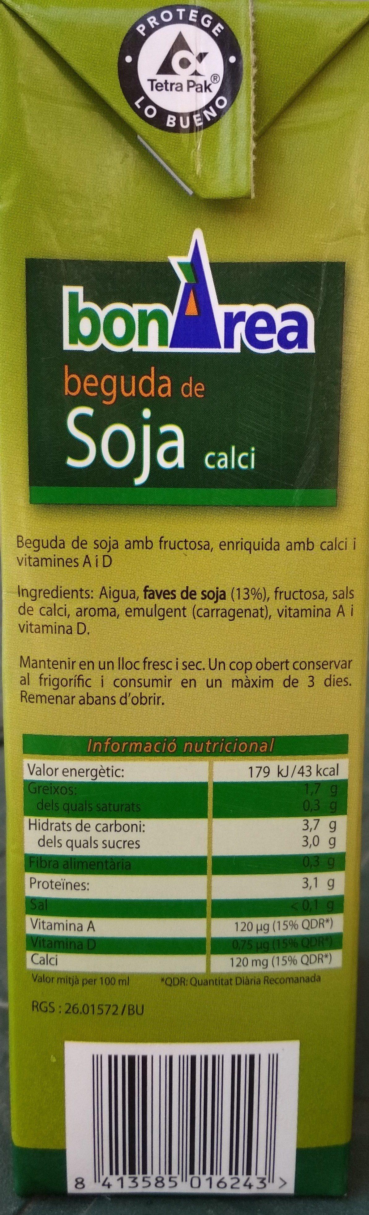 Bebida de soja con Calcio BonÀrea - Ingredientes