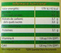 Bebida de soja con Calcio BonÀrea - Información nutricional