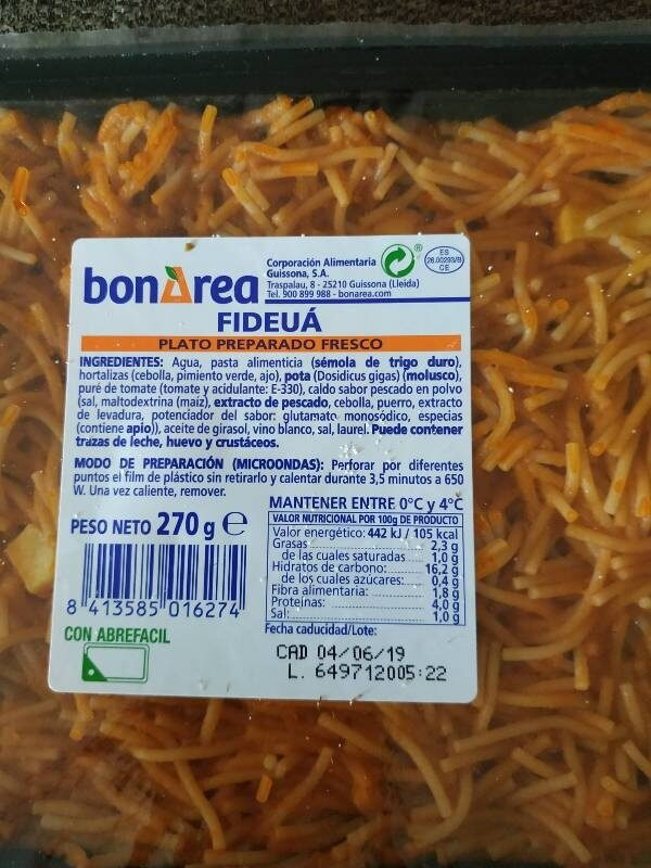 Fideua - Nutrition facts