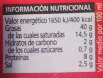Paté al pebre - Información nutricional