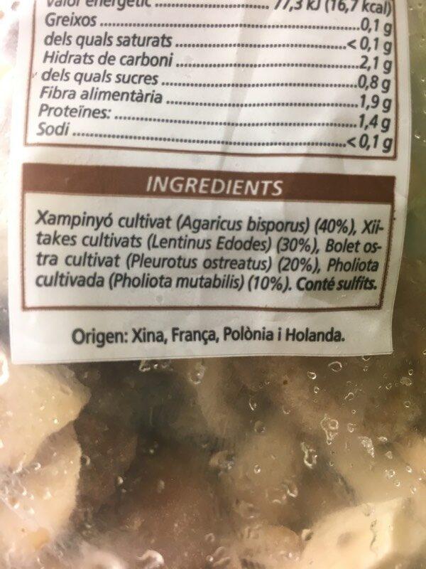 Setas - Ingredienti - es