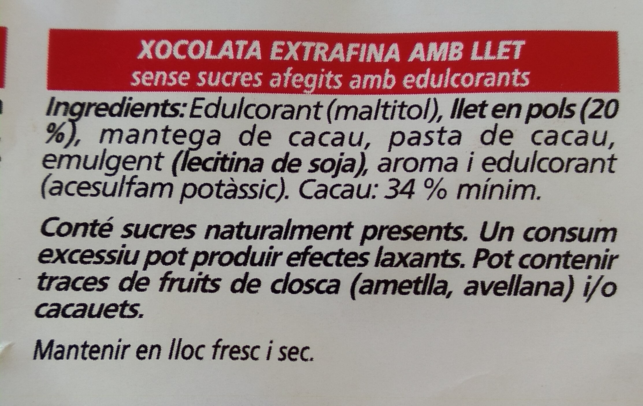 Chocolate con leche - Ingredients - ca