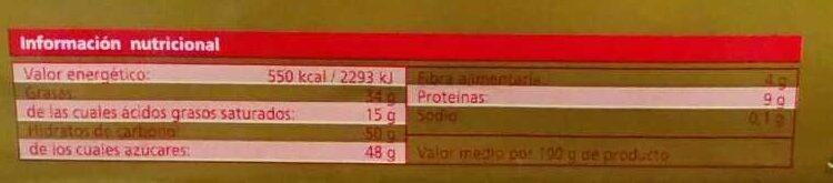 Chocolate con leche y avellanas - Información nutricional - es