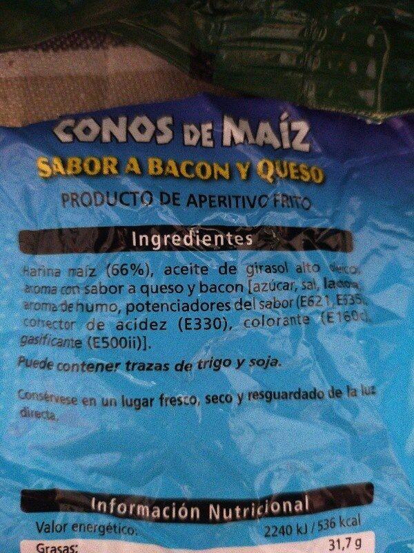 Conos de maiz sabor bacon y queso - Ingredienti - es