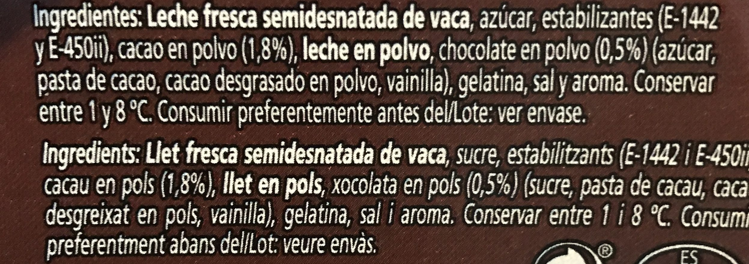 Natillas chocolate - Ingrédients