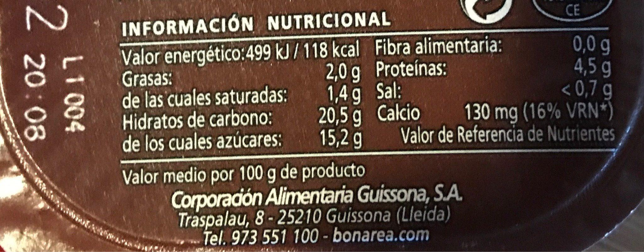Natillas chocolate - Informations nutritionnelles