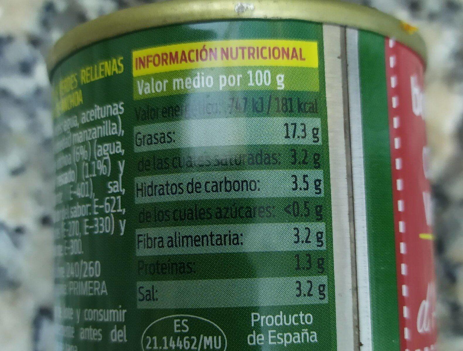 Olives Verdes Farcides d,Anxova - Información nutricional